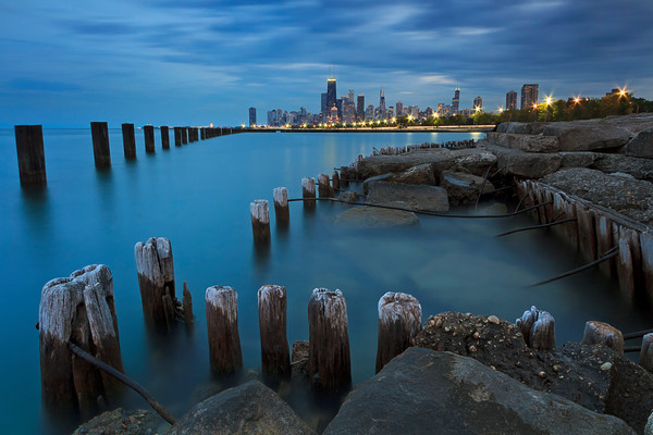 """Dusk on Chicago"" Fine art Chicago city skyline and Lake Michigan photograph"