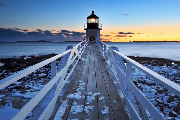 """To the Point"" Port Clyde, Maine winter lighthouse sunset fine art photograph"