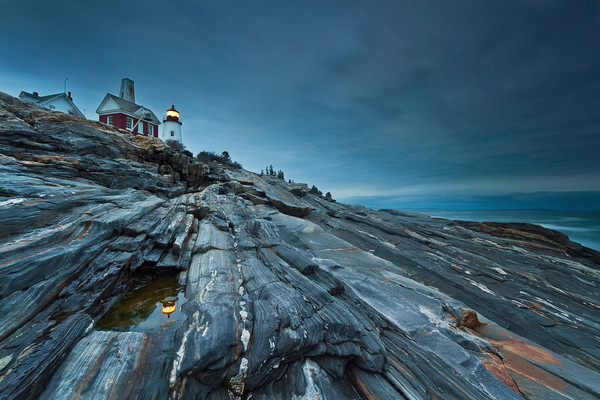 """Study in Blue"" Pemaquid Point Lighthouse, Maine coast fine art photograph"