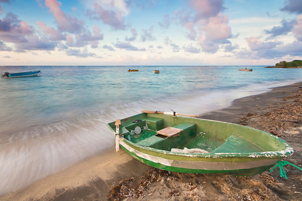 """Washed Ashore"" Caribbean Fishing Boat Photograph"