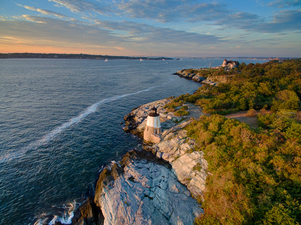 """Over Castle Hill"" Fine Art Aerial Rhode Island Lighthouse Photograph"