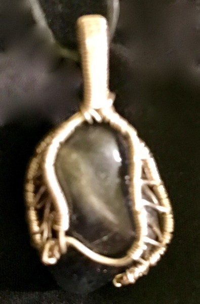 Wire wrapped Dumortierite pendant made by Christina Culverhouse