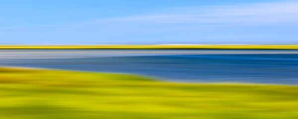 """Fort Hill Marsh"" Abstract Cape Cod Coastal Marsh Panoramic Photograph"