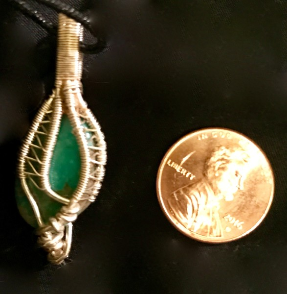 Wire wrapped turquoise pendant made by Christina Culverhouse