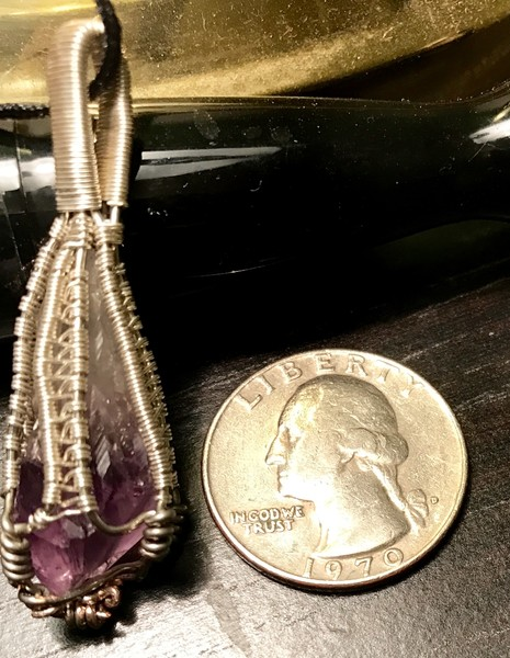Wire wrapped pendant amethyst stone handmade original by Christina Culverhouse