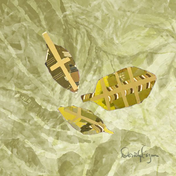 Peace Fern Green & Gold Fine Art Prints on Canvas or Paper
