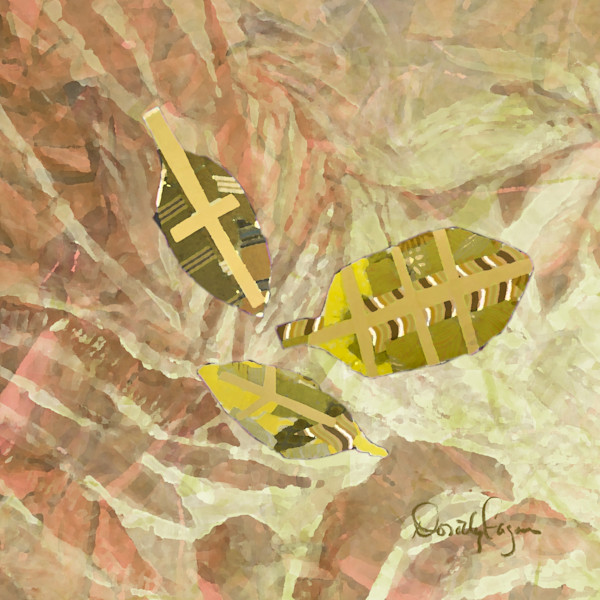 Peace Red Ochre Fern with Gold Leaves Fine Art Print   Noah's Children Collection
