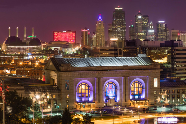 Kansas City Downtown Night Photograph for sale as art.