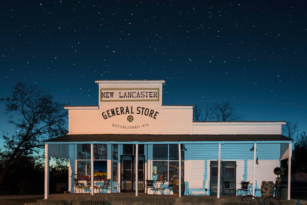 Rural Kansas General Store Under Starlit Sky Night photograph for sale as art.