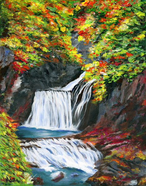 Acrylic painting by artist Mary Anne Hjelmfelt of a cascading blue waterfall surrounded by colorful fall leaves.