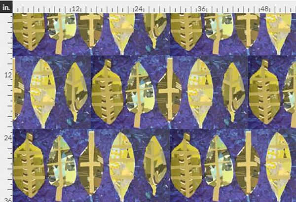Peace Gold & Violet Leaf Design Fabric Yardage | Dorothy Fagan Collection