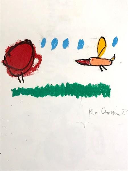 Oil Pastel Hummingbird Drawing