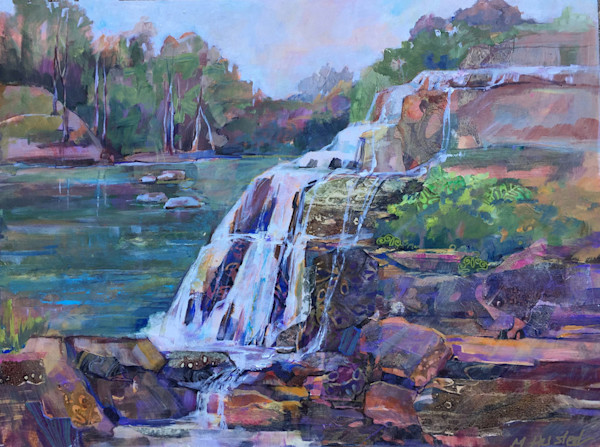 Artist Marty Husted In Beyond Elements captures the magnificent beauty and power of a waterfall as it flows over a rock ledge into a forest pond in this original acrylic and mixed media painting.