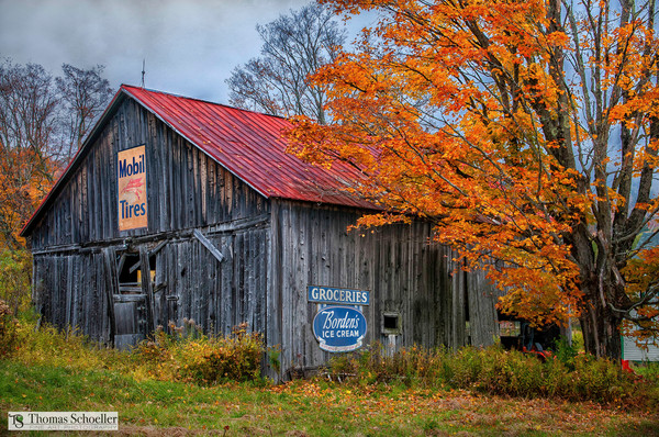 Americana and Folk art fine art countryside prints/Rustic Vermont Old barn art prints by Tom Schoeller