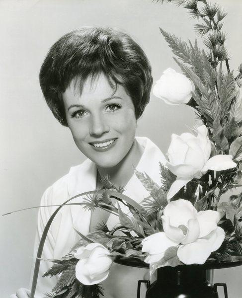 Original Vintage Press Print Julie Andrews behind flowers