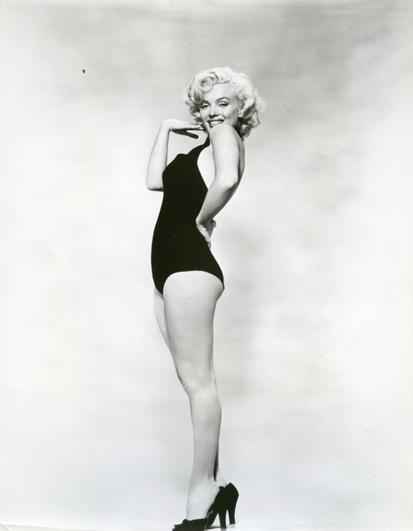 Original Vintage Press Print Marilyn Monroe in a sexy black one piece