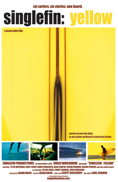 limited edition surf film poster by jason baffa for the 2003 documentary, Single fin yellow