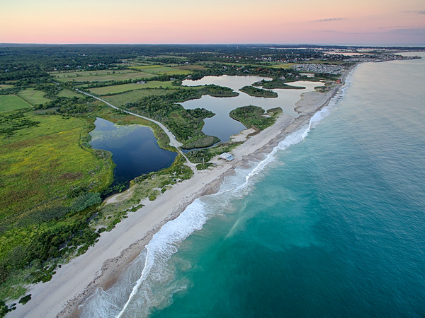 """Over Moonstone"" Aerial Rhode Island Beach Photograph"