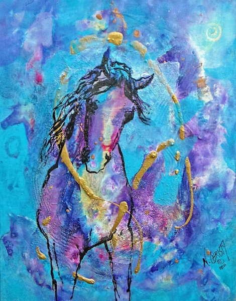 original abstract horse/equine acrylic painting on canvas