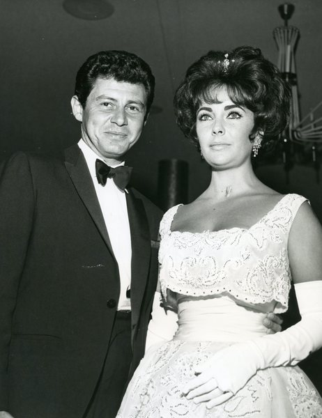 Original Vintage Press Print Elizabeth Taylor and Eddie Fisher at their wedding
