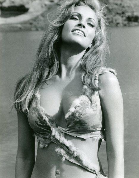 Original Vintage Press Print Raquel Welch fur bikini