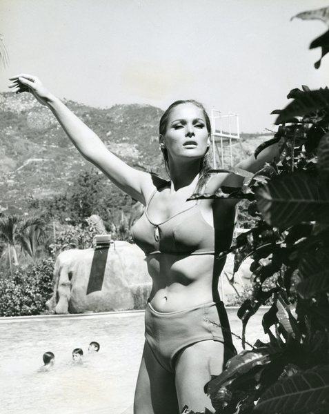 Original Vintage Press Print swiss actress Ursula Andress at the beach