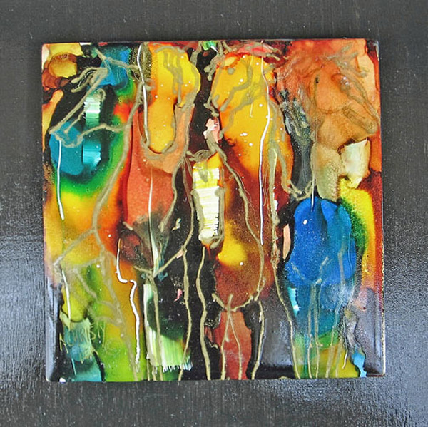 hand-painted alcohol inks on ceramic tile abstract horses