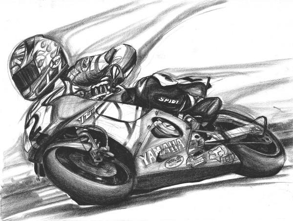 Yamaha Racing motorcycle drawing Jamie Hacking art