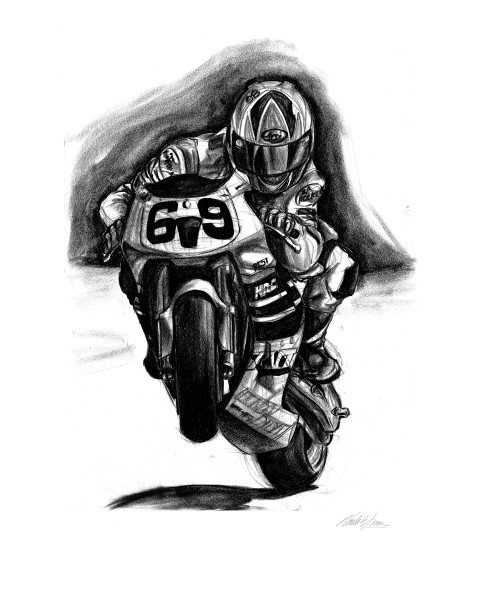 Nicky Haden art work, team honda factory rider drawing
