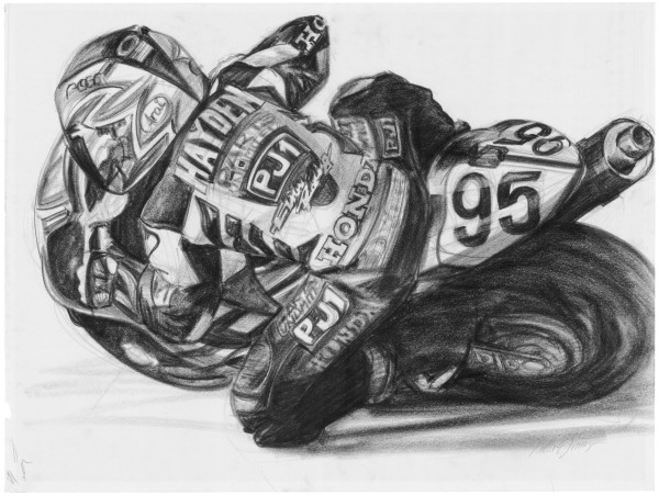Roger Lee Hayden motorcycle racing drawing