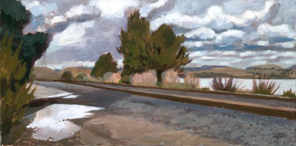 train, rain, painting, landscape, art