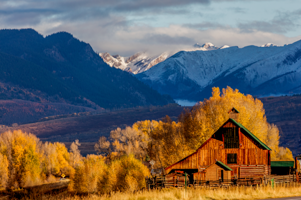 Rocky Mountain Barn In Autumn photograph for sale as art.