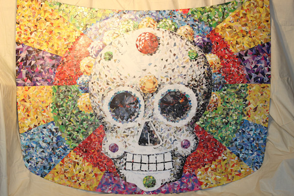 Sugar skull original painting on car hood, wall art, home decor