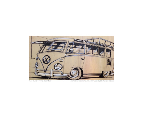 Vintage vw camper bus, original art work, drawing