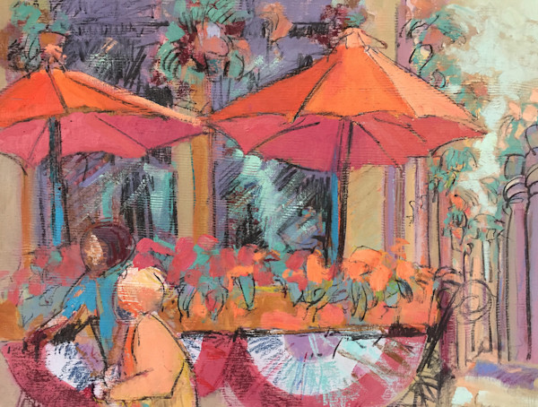 At the Flower Market - Original Mixed Media Painting Dorothy Fagan Collection