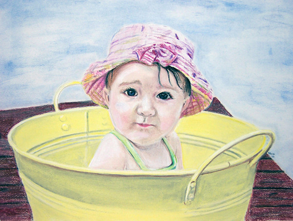 Candid portrait of child drawn with pastel pencils.