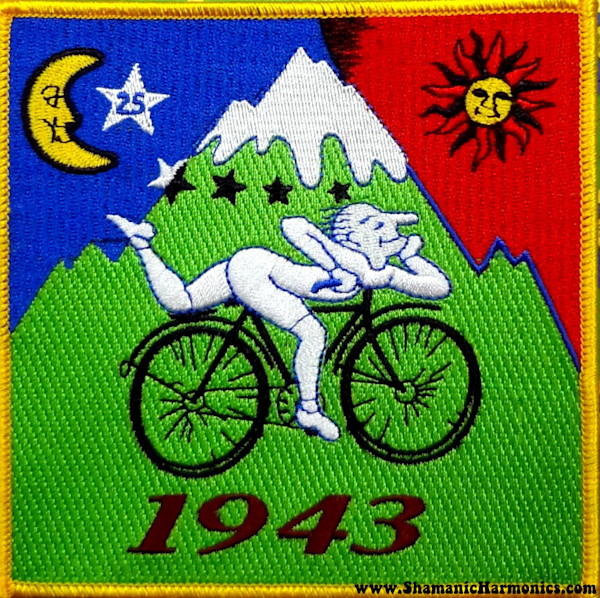 Albert Hofmann Bicycle Day Memorial - LSD Blotter Art - Iron on Patch 5""