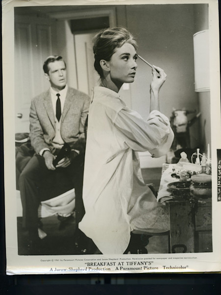 Original Vintage Press Print Audrey Hepburn famous actress hollywood on the set of Breakfast at Tiffany's