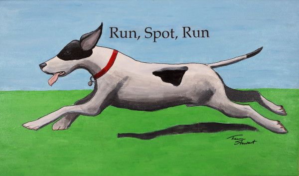 Run-Spot-Run, Spotted Dog Running, Fine Art and Paintings for Sale by Teena Stewart of Serendipitini Studio