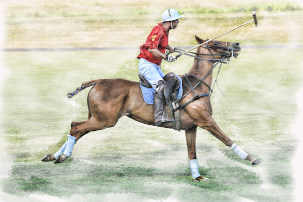 Polo 1st Chukker Photograph- Equine Digital Watercolor by Debra E Kail
