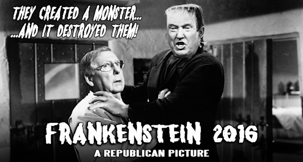 Frankenstein's Monster 2016 Trump and McConnell Fine Art Retro by Jack Calvert