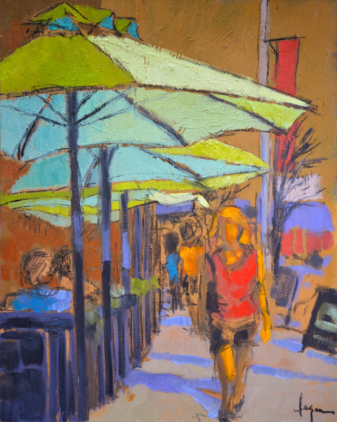 Colorful Street Scene Umbrellas Fine Art Print Under the Canopy by Dorothy Fagan