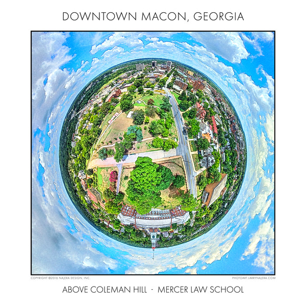 Little Planet of Downtown Macon Above Coleman Hill Park in Macon, GA