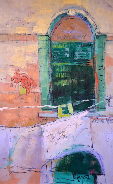 Flowers at the Window   Venice window with laundry   Fine Art Print by Dorothy Fagan