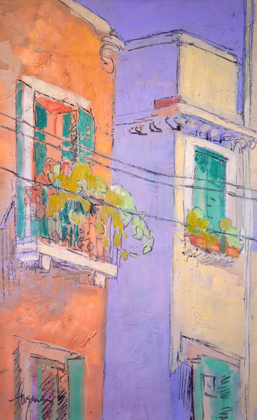 Blooming Balcony | Venice Canal View Street Scene Art Print | Dorothy Fagan Collection
