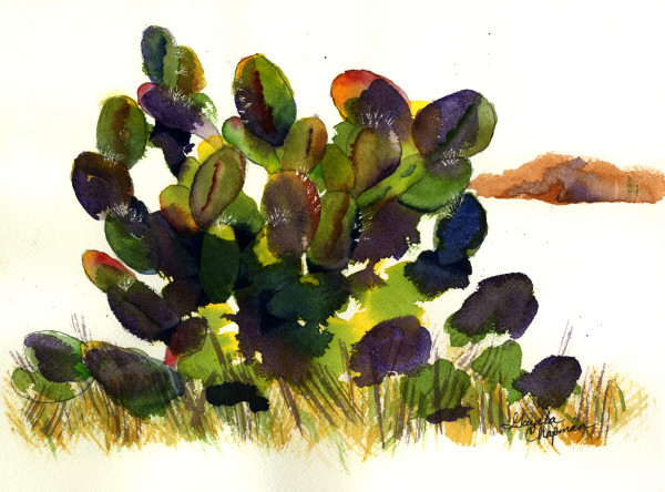 Prickly Pear Cactus art by Gayela's Premiere Watercolor|Main Store