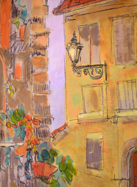 The Lamp Post | Tuscan Village Street Scene Fine Art Print Dorothy Fagan Collection