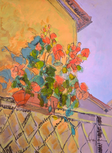 Tuscan Red | Festive Geraniums Fine Art Print Dorothy Fagan Collection