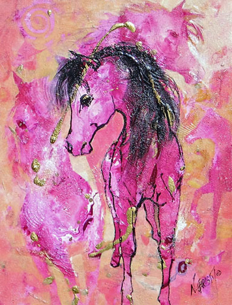 abstract horse painting on canvas in pale pink and coral colors.  Action and texture