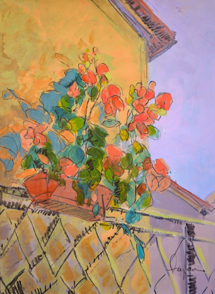 Tuscan Red | Festive Geraniums Mixed Media Painting Dorothy Fagan Collection